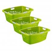 3er Set Wäschekorb FLOWERS 50 l  grün