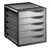 Bürobox 5 Schübe geschlossen SPACEMAKER A4  transparent