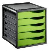 Bürobox 5 Schübe geschlossen SPACEMAKER A4  grün