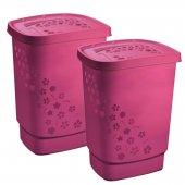 2er Set Wäschesammler FLOWERS 55 l pink