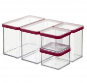 Set Vorratsdosen 5 tlg. LOFT   transparent / rot
