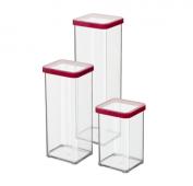 3er Set Premium Dosen LOFT 1 l, 1.5 l, 2 l transparent / rot