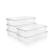 5er Set Clear Box Unterbettbox 55 l