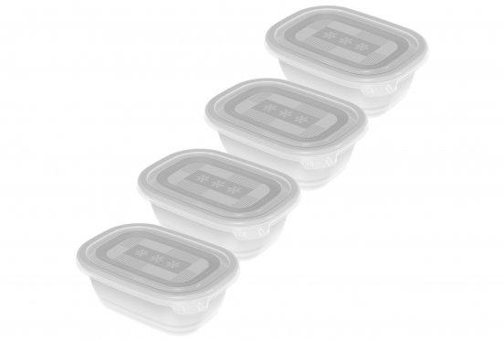 Set Gefrierdosen FREEZE 4 x 0.5 l weiss/transparent