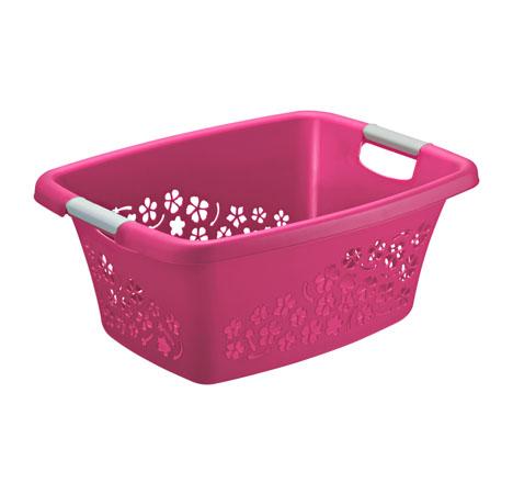 Wäschekorb FLOWERS 25 l  pink