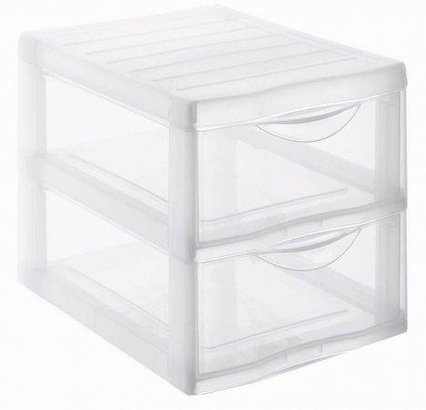 Schubladenbox 2 Schübe ORGAMIX A4  transparent