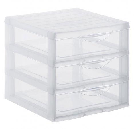 Schubladenbox 3 Schübe ORGAMIX A6 transparent