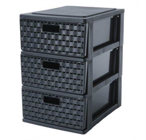 Schubladenbox 3 Schübe COUNTRY A5  schwarz