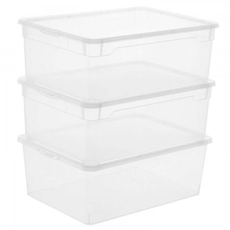 3er Set Clear Box Men Shoe   transparent