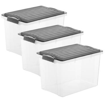 3er-Set Stapelbox COMPACT A4 hoch 19 l anthrazit