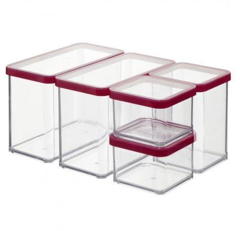 Set Vorratsdosen 5 tlg. LOFT   transparent / rot