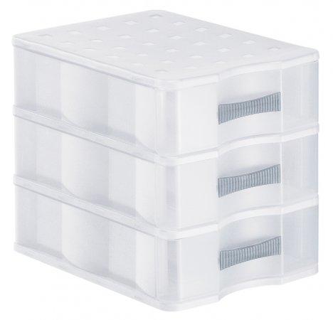 Schubladenbox mit 3 Schüben QUADRIX A5 transparent