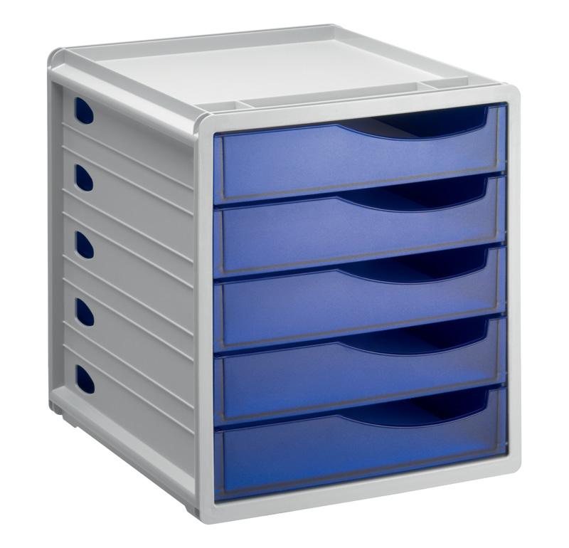 spacebox mit 5 schubladen a4 grau blau jetzt. Black Bedroom Furniture Sets. Home Design Ideas